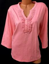 Denim & Co. pink pierced embroidered short sleeves spandex stretch tee top 2X