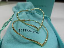 Tiffany & Co. Elsa Peretti 18K Y Gold Open Heart Hoop Earrings $2700