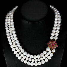 NATURAL WHITE PEARL ROUND CABOHCON & RUBY STERLING 925 SILVER NECKLACE 19.5