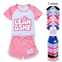 Leah Ashe Gamer YouTuber Kids Girls Casual T Shirt Tops Pants Sports 2PCS Set UK
