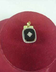 FABULOUS NEW UNUSED ONYX AND DIAMOND SET RECTANGULAR  PENDANT# 15104
