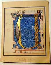 Enluminure, BIG Grande Lettre ornée U, 15ième Manuscrit manuscript parchemin,liv
