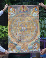 "36"" Tibet Buddhism Silk Cloth Buddha Thangka Painting Mural 09"