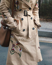 ZARA EMBROIDERED BELTED TRENCH COAT CAMEL IMPERMEABILE CAPPOTTO ricamo SIZE M