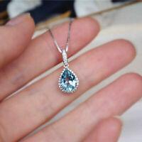 2Ct Pear Cut Aquamarine & Diamond Halo Pendant 14K White Gold Finish Free Chain