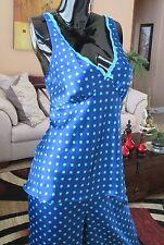 Gilligan O'Malley Target Blue & Turquoise Polka Dot Tank Pajamas Set Sz Lg NWOT!
