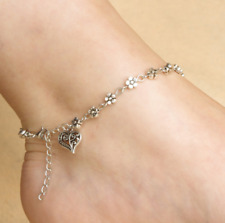 Womens Silver Heart Anklets Ankle Charm Leg Bracelet Chain Foot Gift Beach Daisy