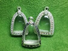 (3) 3x2.5x1.5cm New Thai Sterling Silver Lp Ngern Amulet Case Cover Protect Sale