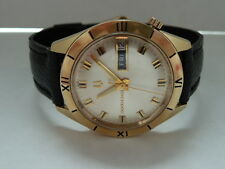 MEN'S BULOVA ACCUTRON WATCH 14'K SOLID GOLD 218 M8 TUNING FORK  DAY&DATE