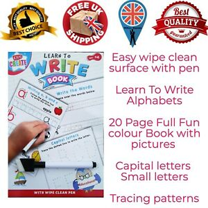 Learn to Write Alphabets Words Educational Wipe Clean Book School Kids With Pen