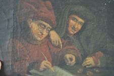 Ancien PORTRAIT XVIII Homme Banquier Hollandais ? Argent Banque Painting 18