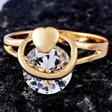Fashion Heart yellow Gold Filled clear crystal womens wedding ring size 6