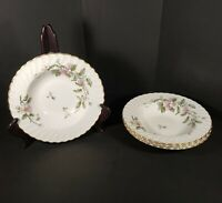 "Syracuse China 4 Rimmed Soup Bowls 8"" Apple Blossom Gold Trim Swirl Edge USA"