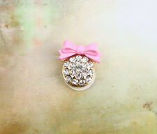 3PCS Pink Bowknot Rhinestone Beaded Round Home Button Stickers for 1Phone Pad