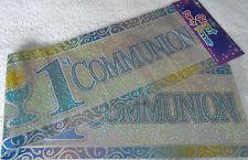 3 X 90cm Foil 1st Holy Communion Banners Blue / Boys