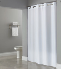 """Hookless Shower Curtain, Plain Weave White, Fabric, Weighted Corners 71"""" x 80"""""""