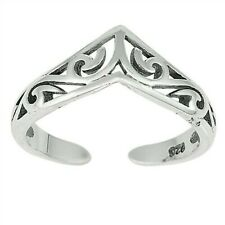 6 mm Solid Sterling Silver 925 Jewelry V Shaped Filigree Toe Ring Face Height