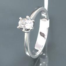 Solitärring 1 Diamant-Oval 0,43 ct I/SI - 18K Weißgold - 3,8 g - Gr. 55 - NEU
