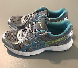 ASICS Gel Contend Women's Size 9 Grey/Blue/Green Running Shoes - Very Nice !