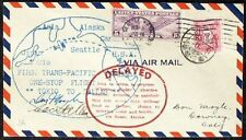s843) First Trans-Pacific One-Stop Flight Tokio to Dallas  signed Allen + Moyle