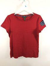 LAUREN Ralph Lauren Women's Red Knit T Shirt Short Sleeve Size L