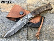 AMERICANO CUTLERY CUSTOM MADE DAMASCUS HUNTING LINER LOCK FOLDING KNIFE - US-459