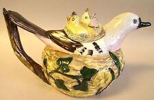 Staffordshire Crown Dorset Hand Painted Bird Teapot ~  Near Mint