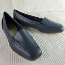 Womens Classique Slip On 9.5 M Loafers Navy Blue Faux Leather Comfort Shoes New