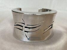 Vintage Mexican heavy sterling silver Taxco cuff bracelet pierced modernist