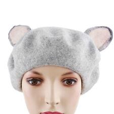 Japan Vintage Winter Warm Faux Wool Gray Cat Ear Girl Beret Cap Painter Hat S