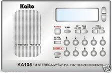 AM/FM Stereo SW Alarm Clock Radio w/ Memory Presets! Kaito KA105  Free Shipping!