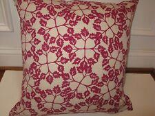 John Robshaw Home Textiles Fuschia Leaf Square Deco pillow Linen Cotton