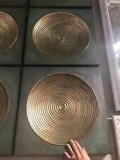 """TWO URBAN INDUSTRIAL XL 20""""  AGED METAL WALL ART PLAQUES CONCAVE RIBBED CENTER"""