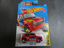 Red Hot Wheels Morris Mini ART CAR - 2016 U.S. Long Card Issue - SEALED