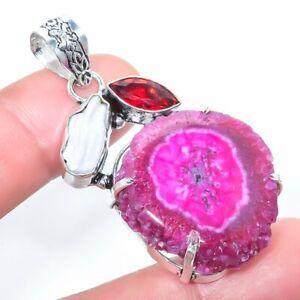 "Pink Solar Quartz Druzy, Biwa Pearl Jewelry Pendant 2.0"" PLG1837"
