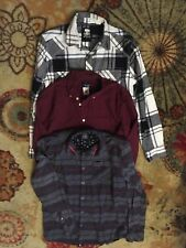 Mens S Button Down Woven Long Sleeve Flannel Shirt Tops Lot