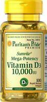 Puritan's Pride Vitamin D3 250 mcg (10,000 IU) 100 Softgels (free shipping)