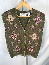 Signature Northern Isles Hand Knitted Wool Cardigan Vest School Teacher S (AS)