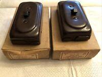 2 Antique Bakelite Single Pole Toggle Switch Units No. 351