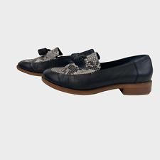 CLARKS SOMERSET Ladies Women Shoes Size 5.5D EU 39 Black Flat Tassel Snakeskin