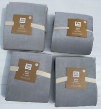 Set of 4 Pottery Barn Teen Velvet Drapes Grey Gray
