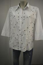 d47b15a0c30a BONITA Damen Bluse Hemd Oberteil Gr.44 3 4 Arm Weiß Stickerei Geblümt TOP