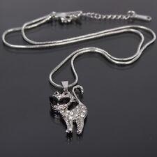 Halskette Kette mit Katze Cat Edelstahl Anhänger Strass