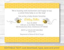 Yellow & Grey Bumble Bee Printable Baby Shower Invitation Editable PDF