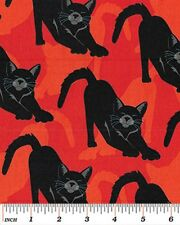 Benartex Gothic Glam by Kanvas 4936M 28 Orange Cats  Cotton Fabric