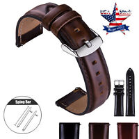 18 20 22mm Quick Release Leather Watch Band Wrist Strap For Fossil Q Smart Watch