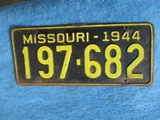 1944 Missouri License Tag Very Nice Used Original Paint 197-682