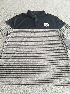 Fanatics Pittsburgh Steelers Polo Shirt Black Striped NFL Mens Size 2XL