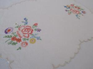 Large Hand Embroidered Linen Doily Doilie Multi-Coloured Floral Scalloped Edging