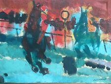 Belle Peinture Vive Hst Huile Sur Toile Signé Course De Chevaux Cheval XXe